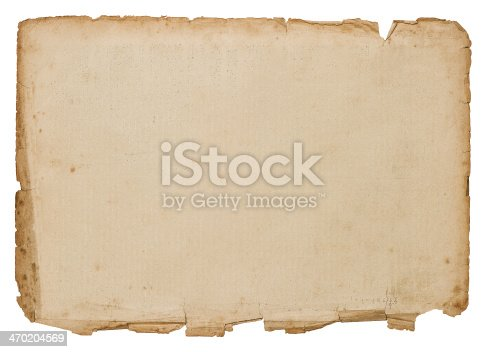 1129542015 istock photo Roughly cut blank antique book page on a white background 470204569