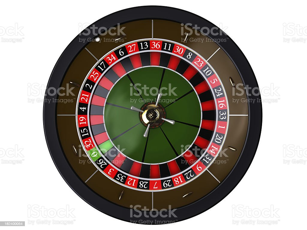 Roulette on white, top of view stock photo