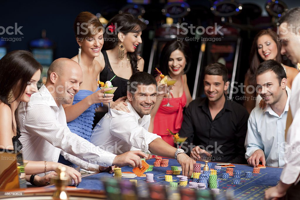 roulette players stock photo