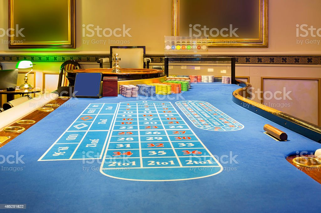 Roulette table at casino stock photo