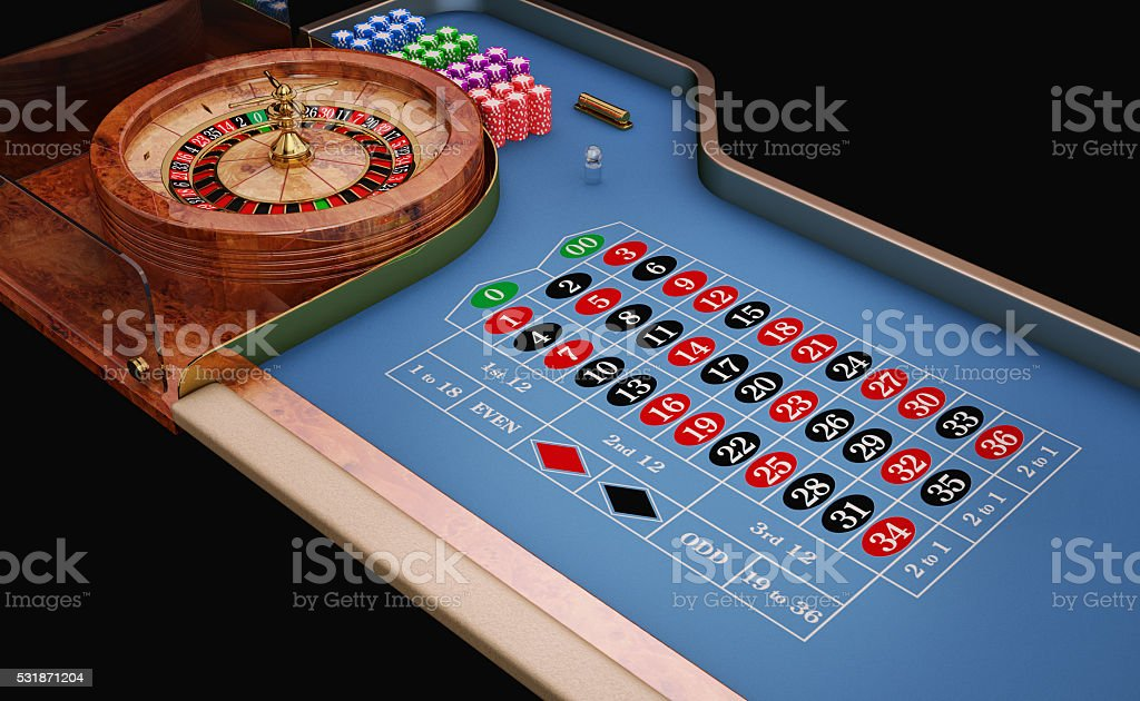 Roulette table close up view. stock photo