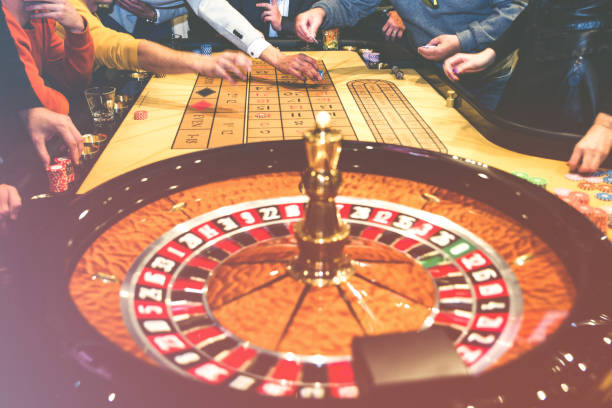Roulette table in luxury casino stock photo