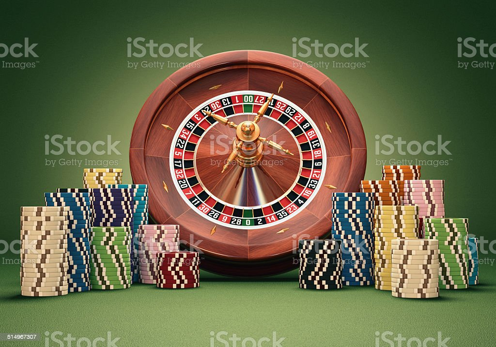 Roulette Wheel Chips stock photo