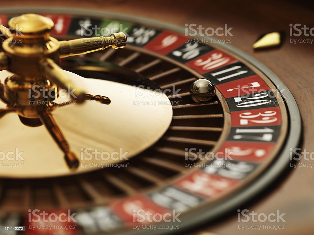 Roulette wheel closeup stock photo
