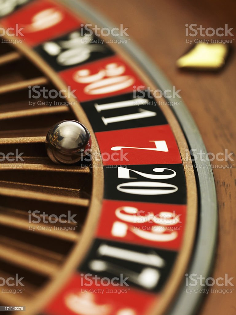 Roulette wheel close-up stock photo