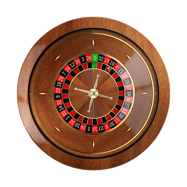 Roulette wheel in casino isolated on white background. stock photo