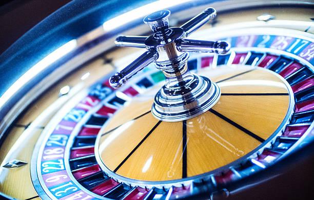 Roulette wheel in casino. stock photo