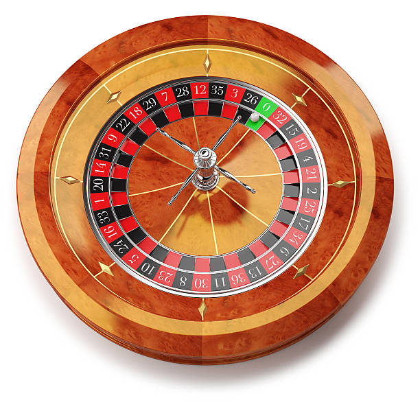 Roulette wheel isolated on white stock photo
