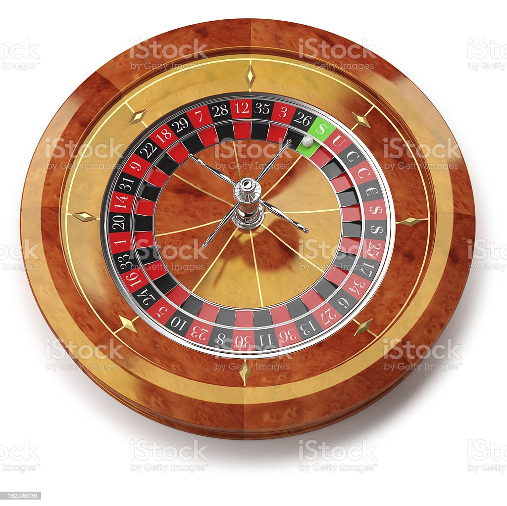 Roulette wheel isolated on white with SUCCESS writing royalty-free stock photo