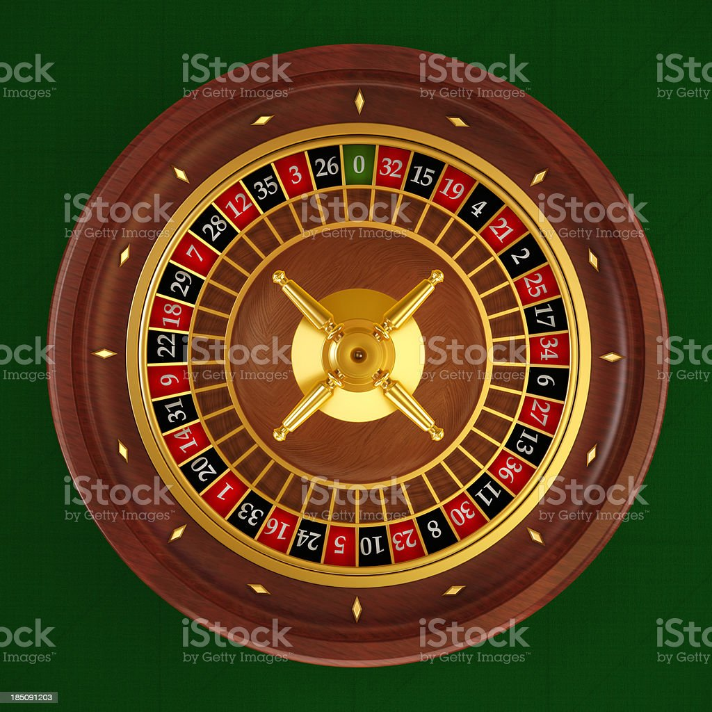 Roulette wheel (Top angle) stock photo