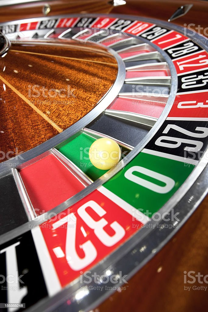 Roulette wheel with ball royalty-free stock photo