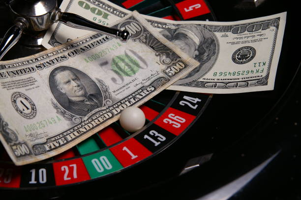 Roulette with Five Hundred Dollar Bill stock photo