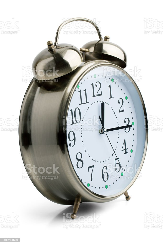Round alarm clock in a metal case stock photo