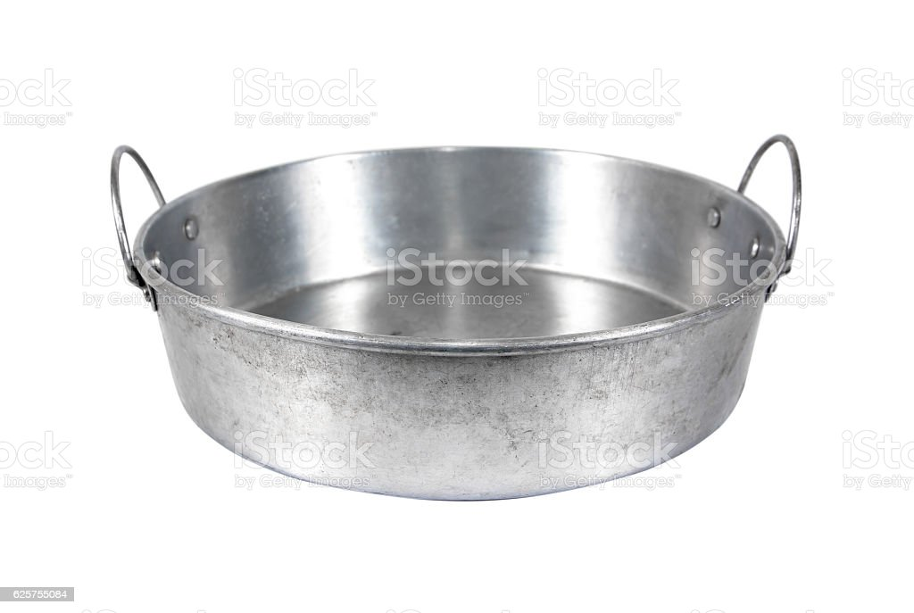 Round aluminium tray wih handle for food isolated on white stock photo