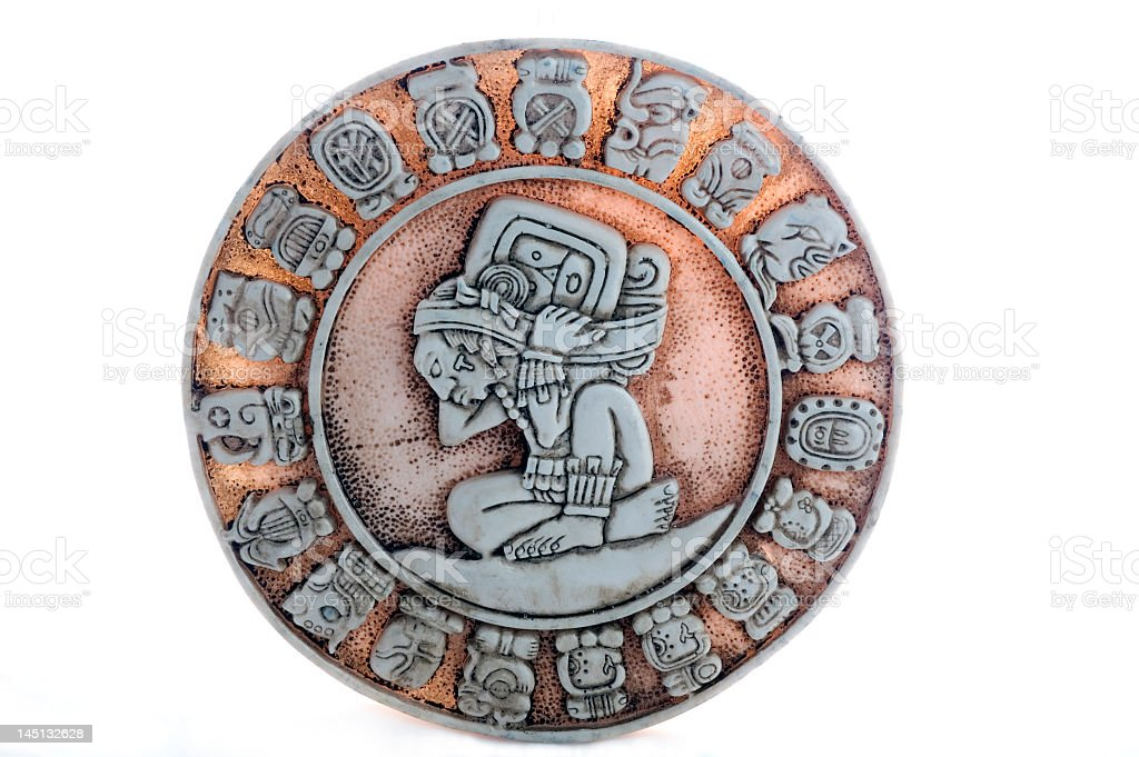 Round Ancient Aztec Mayan Calendar Composed Of Many Symbols Stock