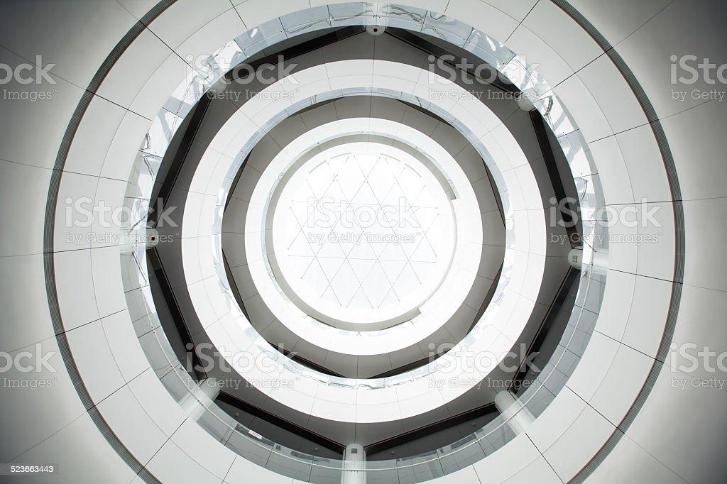 Round atrium with balconies stock photo