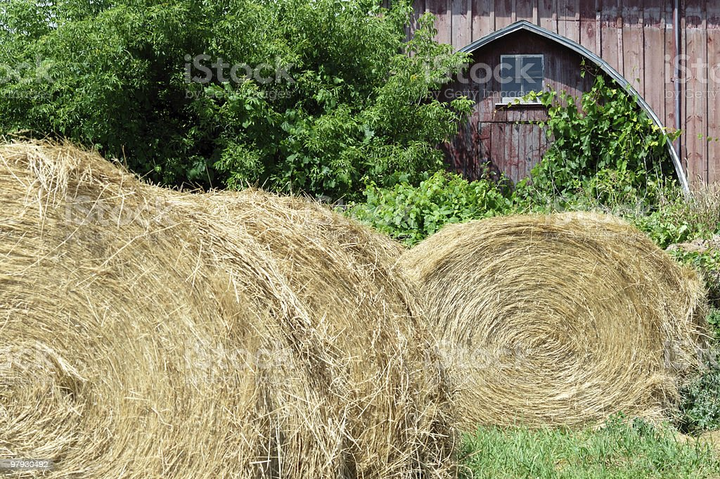 Round Bales and Old Barn royalty-free stock photo