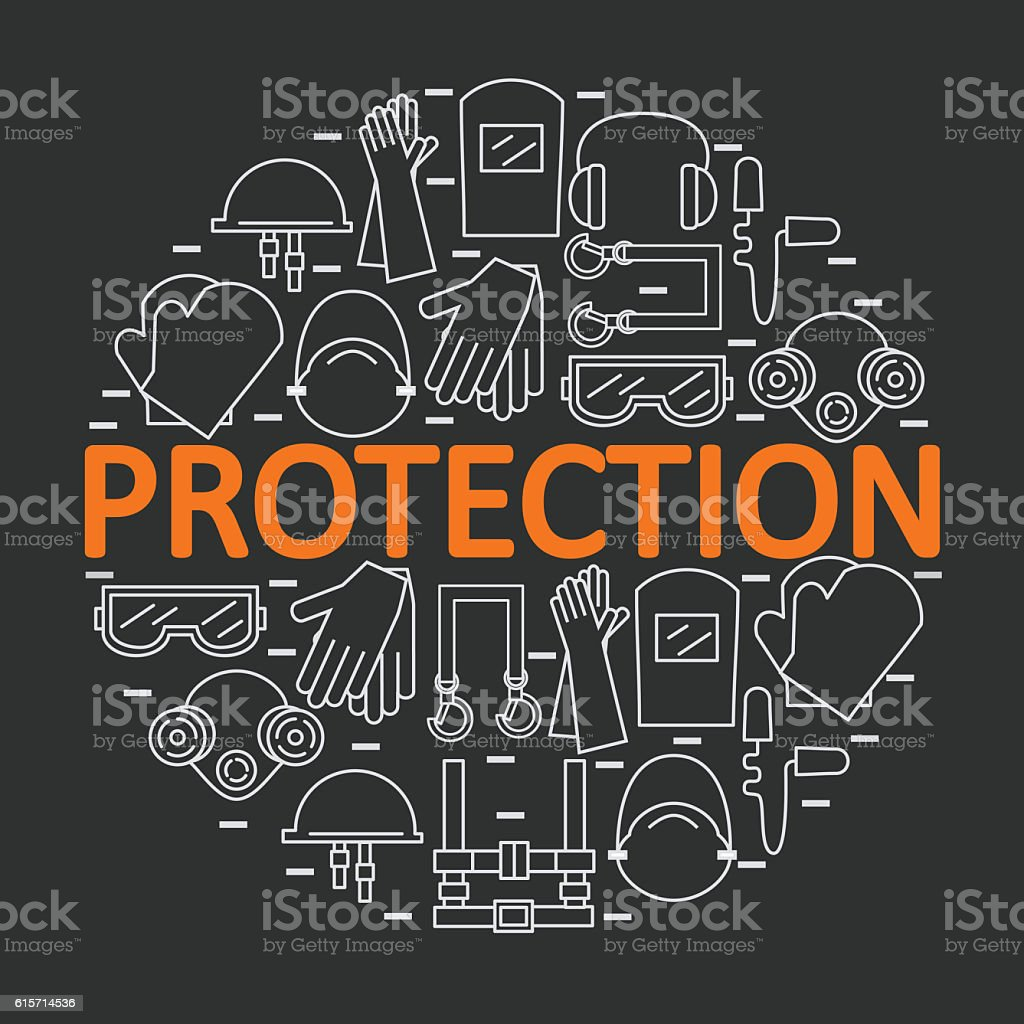 Round banner with personal protective equipment. stock photo