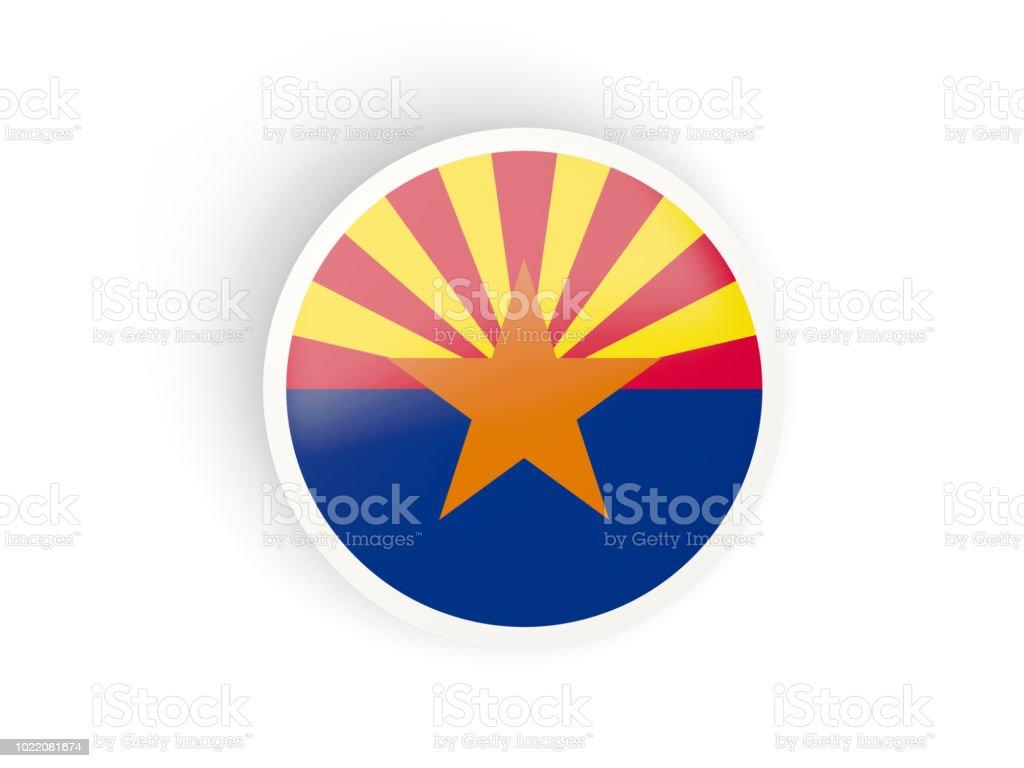 Rodada ícone dobrado com bandeira do arizona. Bandeiras de locais dos Estados Unidos - foto de acervo