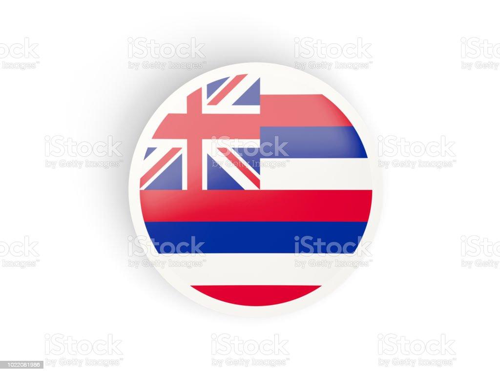 Rodada ícone dobrado com bandeira do Havaí. Bandeiras de locais dos Estados Unidos - foto de acervo