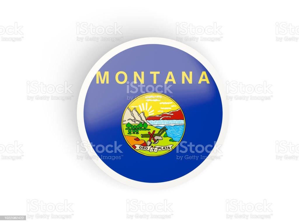 Rodada ícone dobrado com bandeira de montana. Bandeiras de locais dos Estados Unidos - foto de acervo
