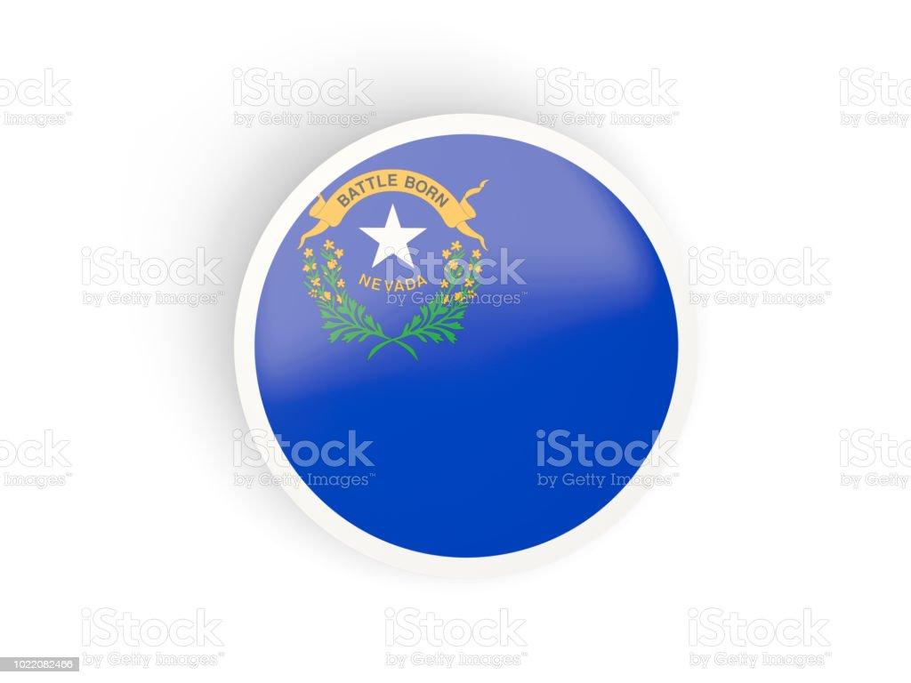 Rodada ícone dobrado com bandeira de nevada. Bandeiras de locais dos Estados Unidos - foto de acervo