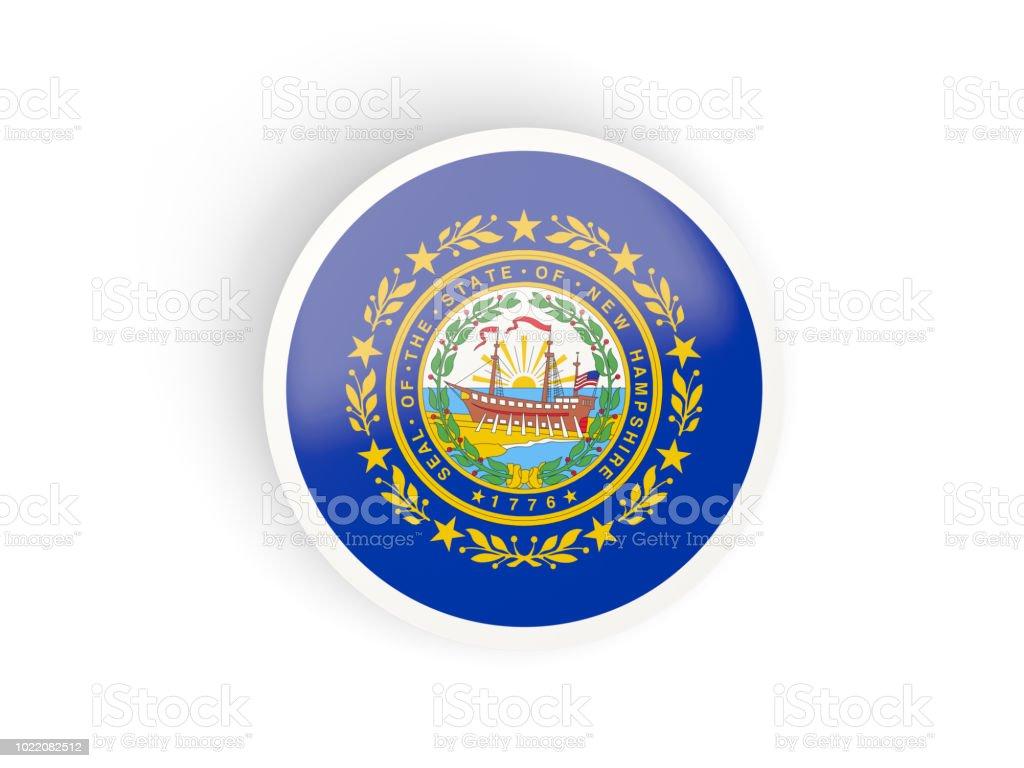 Rodada ícone dobrado com bandeira de new hampshire. Bandeiras de locais dos Estados Unidos - foto de acervo