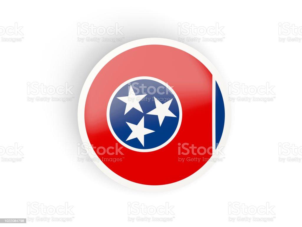 Rodada ícone dobrado com bandeira do tennessee. Bandeiras de locais dos Estados Unidos - foto de acervo
