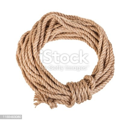 round bight of natural jute rope isolated on white background