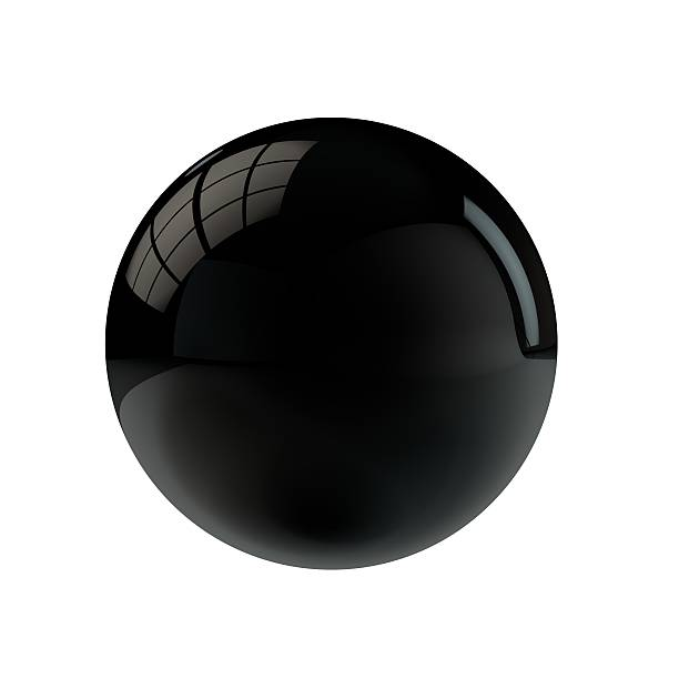 Round black shiny sphere button stock photo