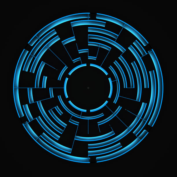 round blue labyrinth on a black background stock photo