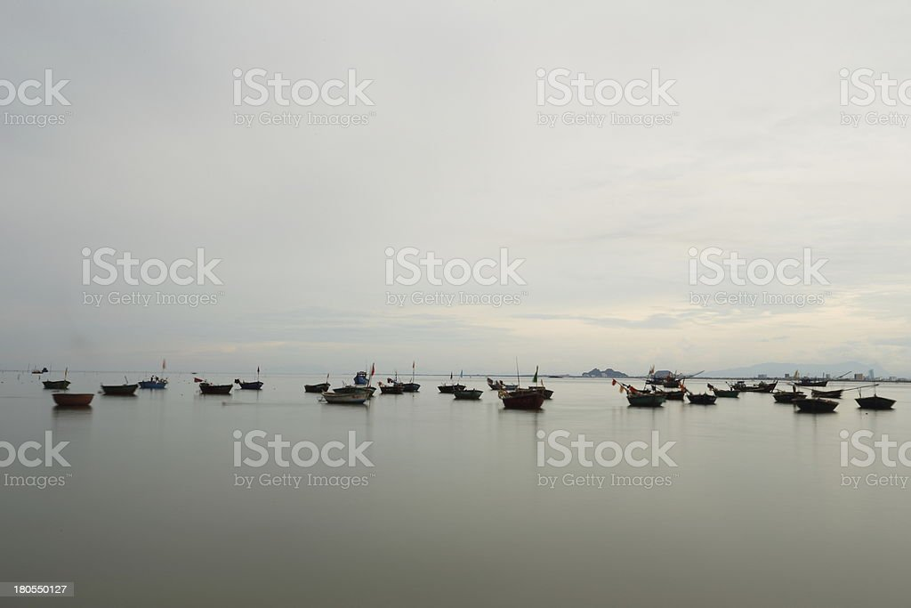 Round boat on the Danang Beach for inshore fishing stock photo