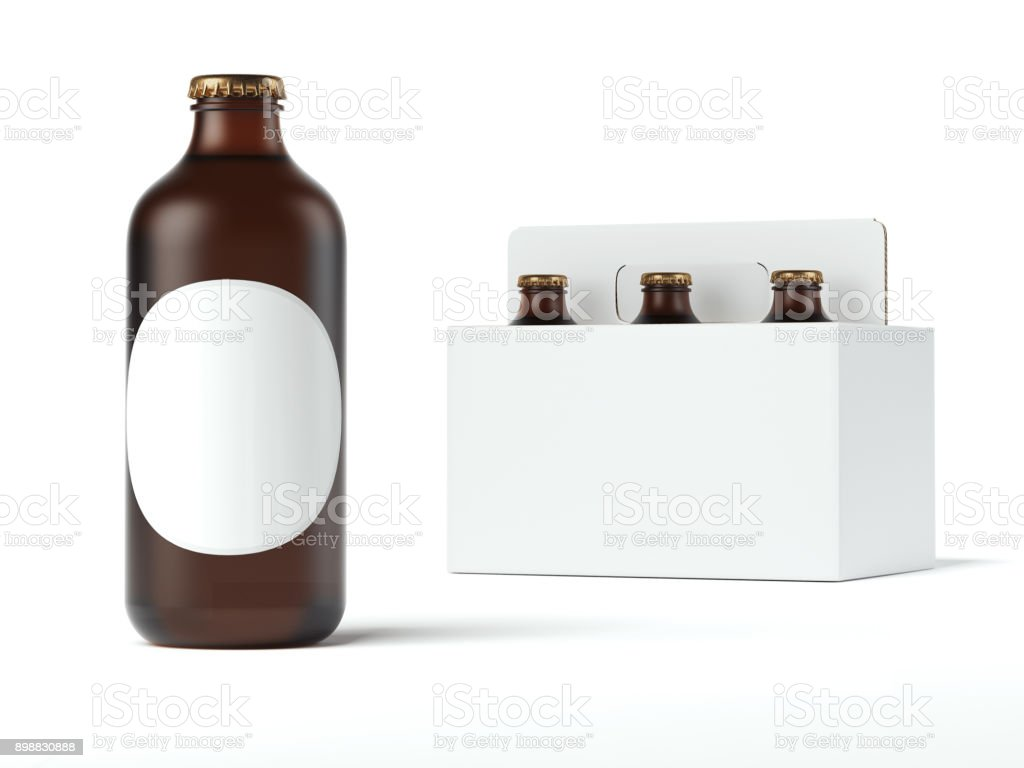 Round bottle with blank label. 3d rendering stock photo
