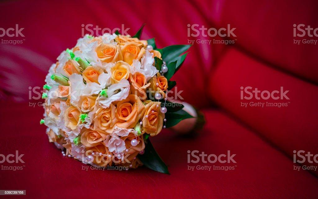 Redondo ramo de rosas de flor ceremonia de bodas foto de stock libre de derechos