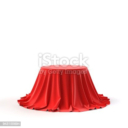 istock Round box covered with red fabric 943155694