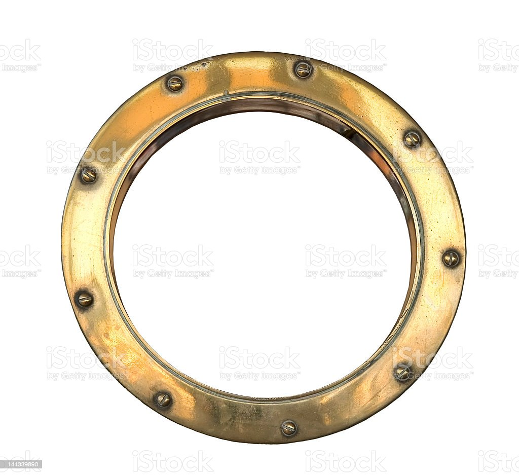 Round brass porthole on a white background stock photo