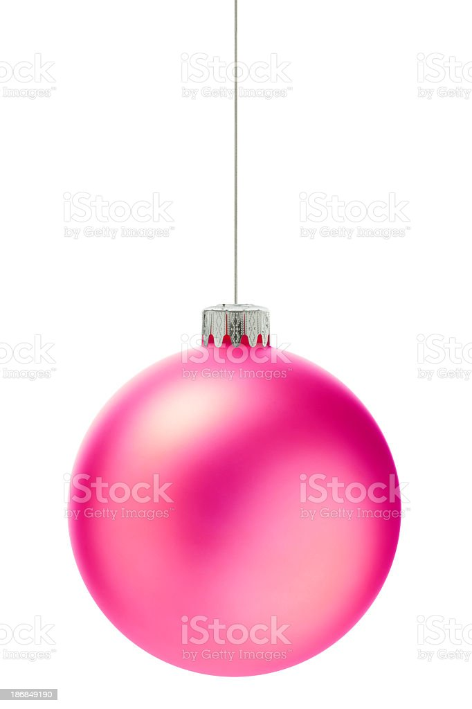 Round bright pink Christmas ornament stock photo
