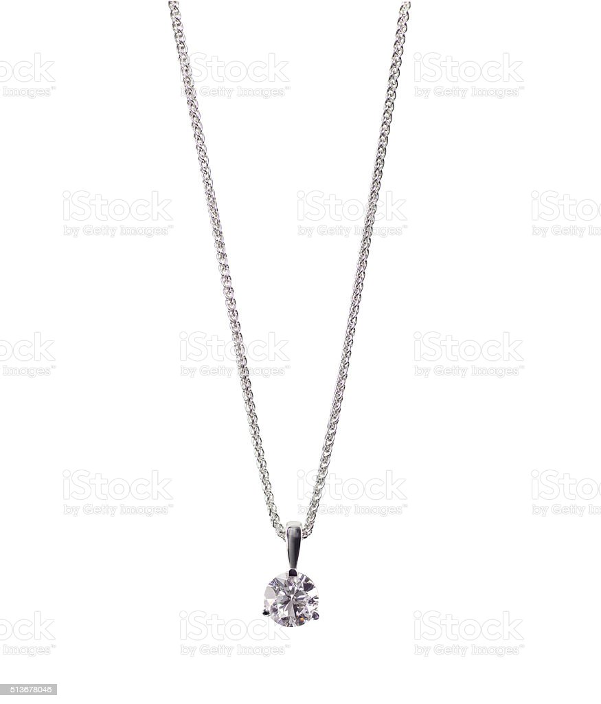 Round brilliant Diamond solitaire Pendant necklace on a chain stock photo