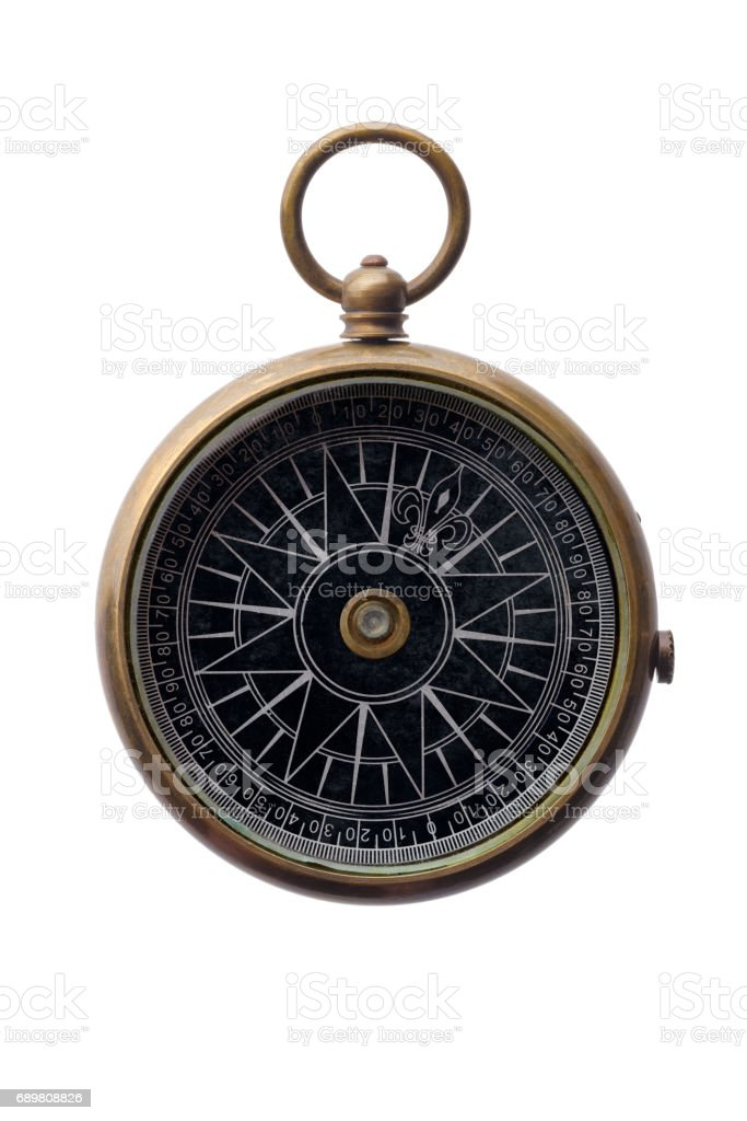 Round bronze compass stock photo