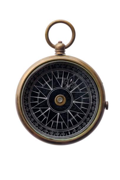 Round bronze compass stock photo