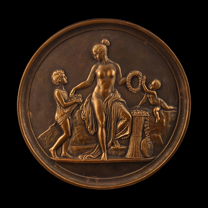 868668668 istock photo round bronze painting of a nude woman 868666334