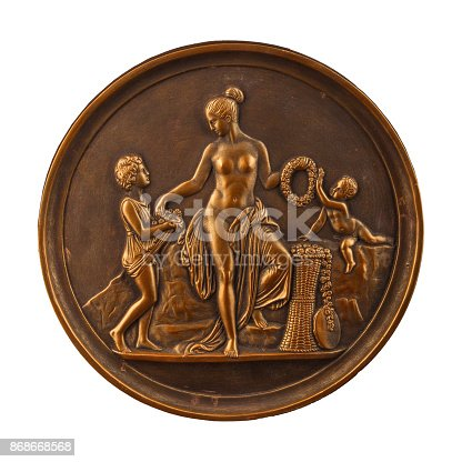 istock round bronze painting of a nude woman 868668568