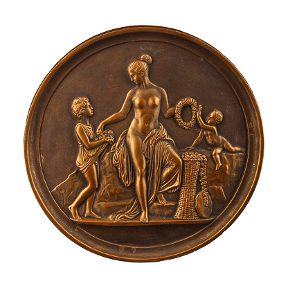 868668668 istock photo round bronze painting of a nude woman 868668568
