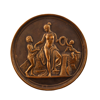 868668668 istock photo round bronze painting of a nude woman 868668668