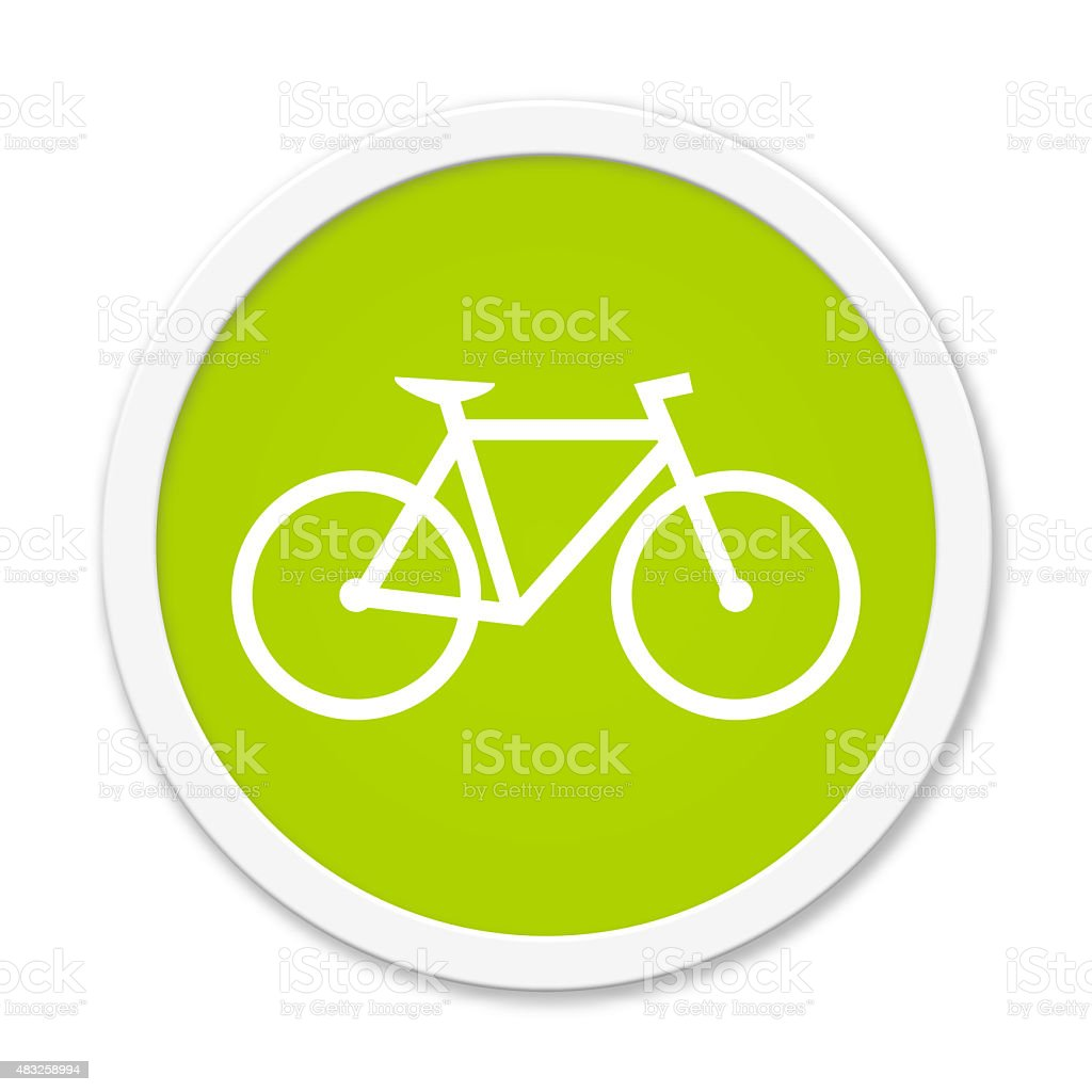 Round Button showing bicycle stock photo