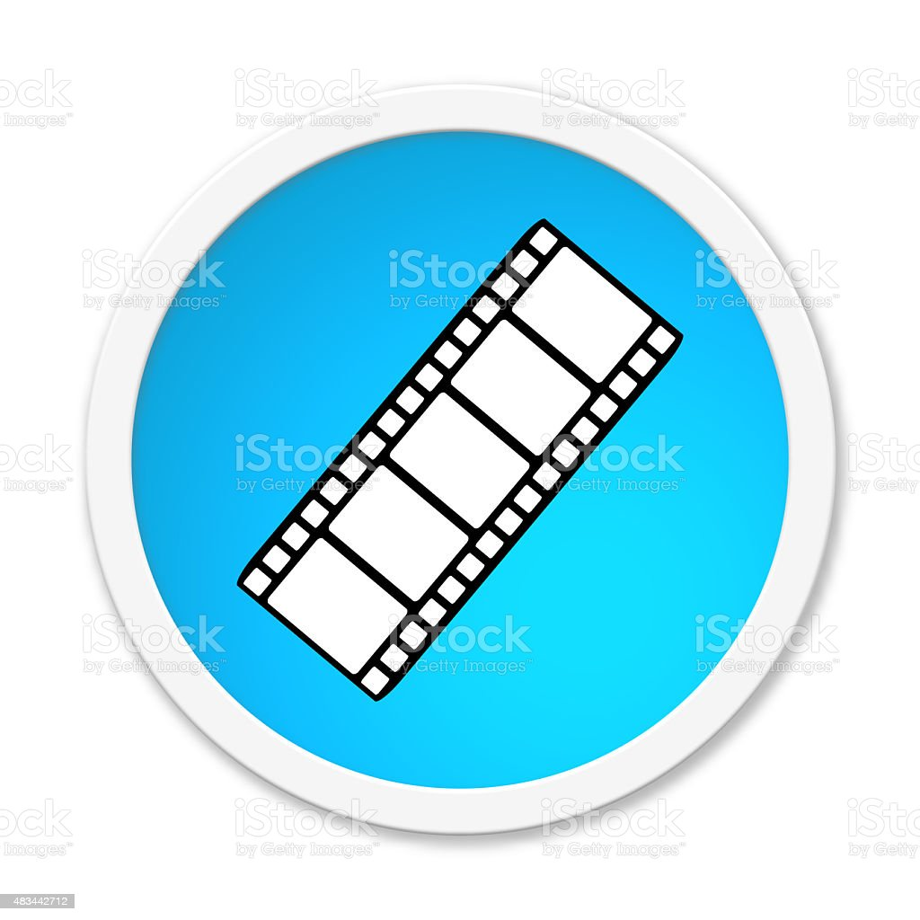 Round Button showing film roll stock photo