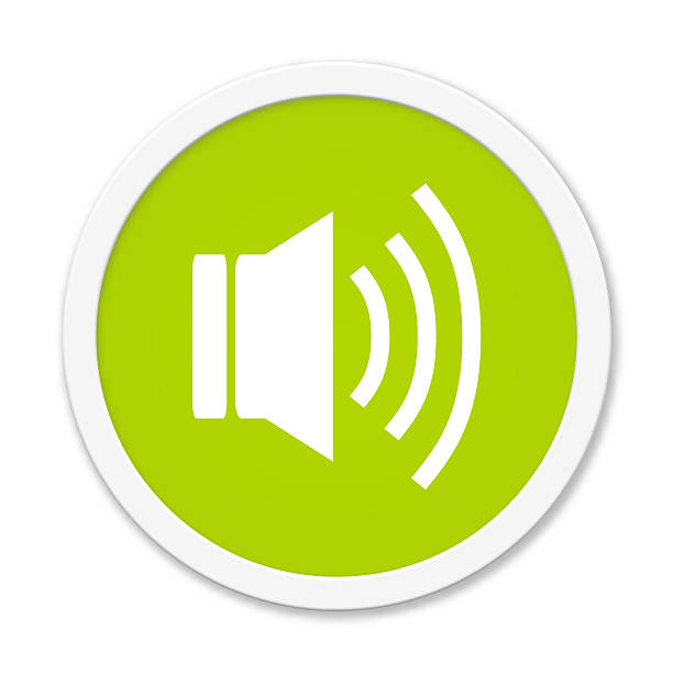 Round Button showing speaker stock photo