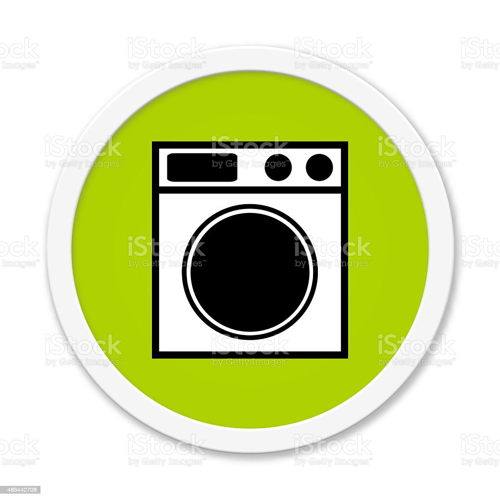 Round Button showing washing machine stock photo