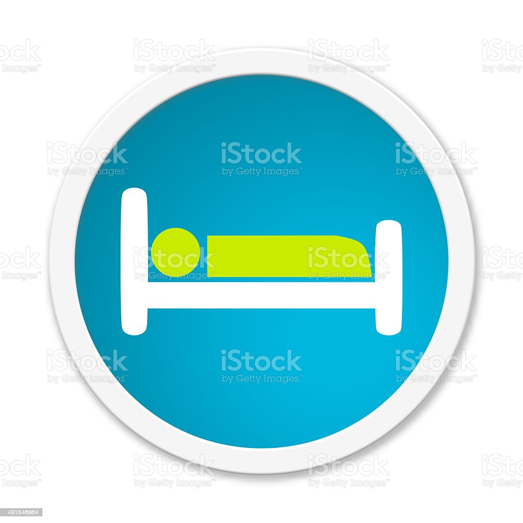 Round Button with Symbol bed stock photo