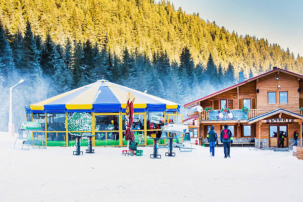 Round cafe at Bunderishka polyana, ski resort Bansko, Bulgaria stock photo
